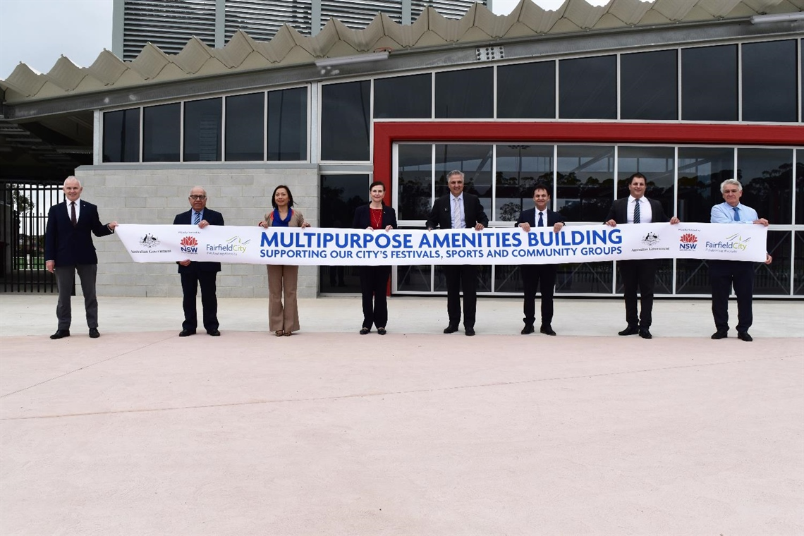 Image of officials opening the Amenities Building