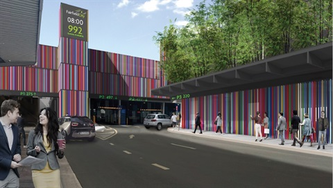 Artist's interpretation of completed Hughes Street car park