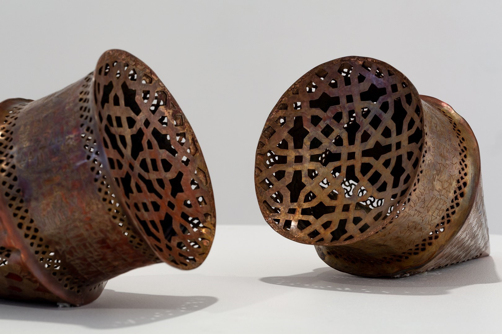 Shireen Taweel, Switching Codes. Pierced and Engraved Copper pieces. Image by Document Photography.